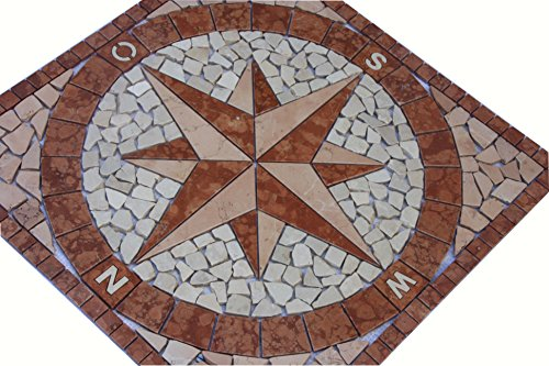 Antikmarmor Rosone 60x60 cm Windrose Mosaik Einleger Rosso Verona Rot Creme 018