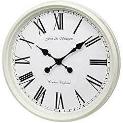 Fox and Simpson Grand Central Station Extra Large 50cm / 20-Inch Wall Clock in Cream (White)