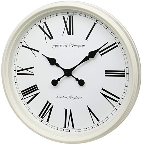 Fox and Simpson Grand Central Station Wanduhr, extra groß, 50 cm, cremefarben (weiß)