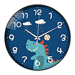 12 Inch Large Wall Clock, BicycleStore Silent Non Ticking Big Round Clocks Battery Operated Decorative Colorful Cartoons Design for Kids Kitchen, Farmhouse, Bathroom, Bedrooms, Living Room Decor