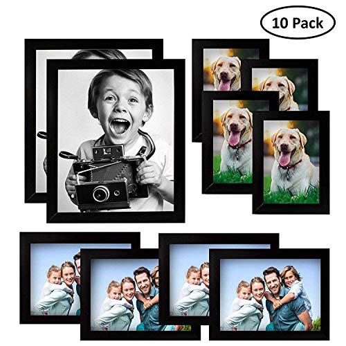 Kurtzy Marco de Fotos Multiple (10 Paquete) - Marco Madera Negro 2 x (20x25cm),...