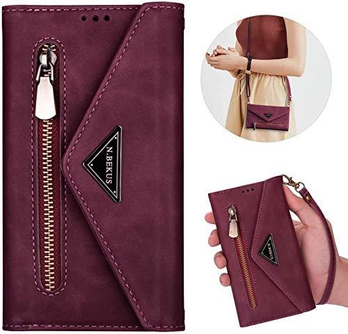 Kompatibel mit iPhone 11 Hülle Leder Tasche Brieftasche Flip Wallet Case Schutzhülle Handyhülle Reißverschluss Geldbörse Klapphülle Handytasche mit 5 Kartenfächer für iPhone 11,Weinrot
