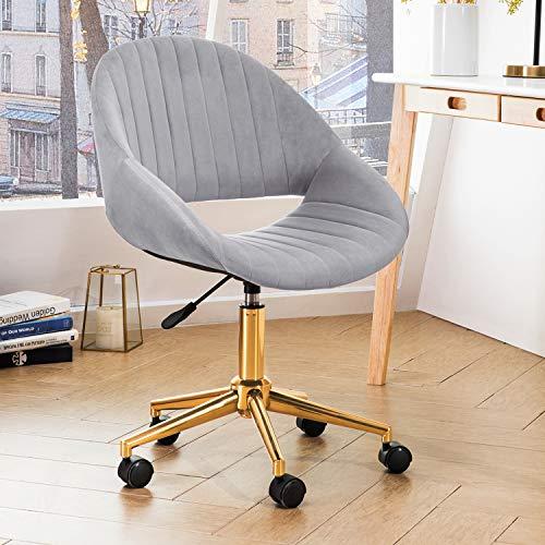 OVIOS Cute Desk Chair,Plush Velvet Office Chair for Home or Office,Modern,Comfortble,Nice Task Chair for Computer Desk. (Goldern-Light Grey)