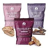 MAIKAI - Chuches Naturales Perros Razas Medianas y Grandes - 3 Bolsas de premios Naturales deshidratados - Oreja de Cerdo - Nervio de Toro- Tráquea de Ternera - Dieta Barf - Rico en Proteínas