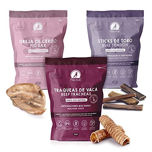 MAIKAI - Chuches y premios Naturales para Perros Razas Medianas y Grandes - 3 Bolsas de Snacks deshidratados - Oreja de Cerdo - Nervio de Toro- Tráquea de Ternera - Dieta Barf - Rico en Proteínas