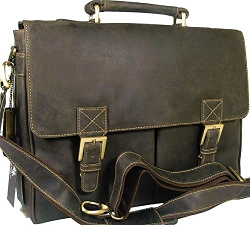 New Visconti Brown Vintage Style Hunter Leather Work Business Briefcase Bag 18716