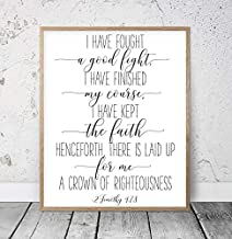 Framed Wood Sign Quote Sign I Have Fought A Good Fight, 2 Timothy 4:7, Bible Verse Printable Wall Art, Christian Gifts, Nursery Decor, Bible Quotes Scripture PrintsFor Room/Living Room