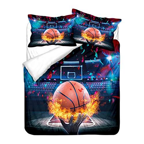 YZDM Juego de ropa de cama 3D con diseño de Basketball estampado y funda de edredón y funda de almohada de microfibra para niños y niños (200 x 200)