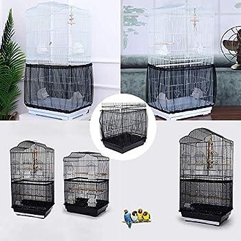 Wenxiaw Housses pour Cages à Oiseaux Maille Filet Cage Oiseau Cage à Oiseaux en Maille Filet Extensible-Souple Couverture Protection Cage Oiseaux Filet de Protection pour Perruches Noir (Large)