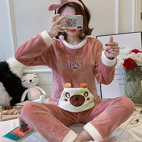 Conjunto De Pijamas Para Mujeres,Oso Rosa Oso Redondo Cuello Jersey Pijama Conjunto Mujeres Invierno Espesan Caliente Coral Fleece Ropa De Dormir 2 Piezas De Manga Larga Home Loungewear Traje De Camó