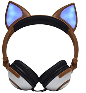 ALHX Gaming Headset Foldable Flashing Glowing Headphone Gaming Headset Earphone With LED Light For Mobile Phone, Tablet PC, Notebook (Black) Gaming Headset (Color : Brown)