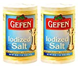 Gefen Iodized Salt 26oz (2 Pack, Total 3.25 Pounds) Easy Pour Spout Canister, Product of the USA ,...