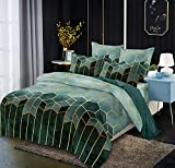 LOVINSUNSHINE Marble Queen Comforter Cover Green Bedding Queen Size 3 Piece Duvet Cover Queen Geometric Bedding Set Queen Geometric Microfiber Duvet Cover with Corner Ties and Zipper Closure 90X90 -
