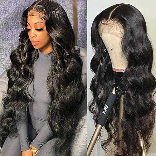 Brazilian Body Wave Lace Front Human Hair Wigs for Black Women, 30 Inch 13x4 Lace Frontal Wig Pre Plucked with Baby Hair Unprocessed Virgin Human Hair Bleached Knots Natural Hairline (30 Inch)
