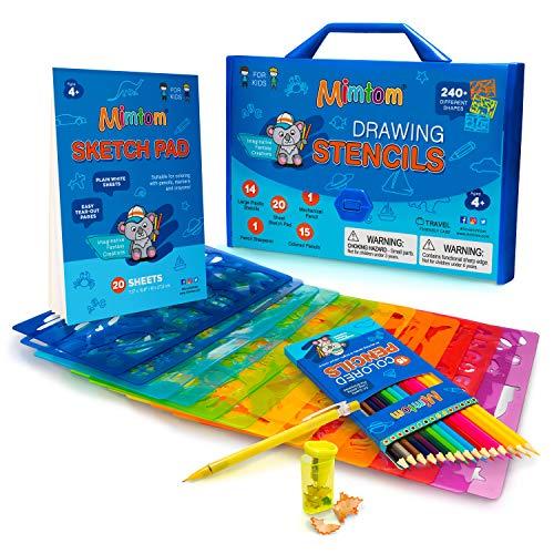 Mimtom Plantillas de Dibujo Kit de Manualidades para niños y Chicos con 240 Figuras | Plantillas para Pintar Que desarrollan la Creatividad | Desde los 4 años