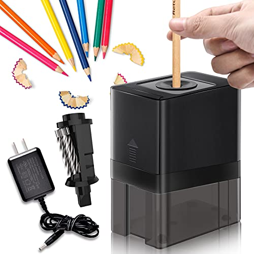 Auto Electric Pencil Sharpener[2021 New Upgrade]Stronger Motor Helical Blade Adapter&Battery Pencil Sharpener Office Kids School Drawing Sharpener for No.2/Colored Pencils(6-8mm) in Home/Class/Office