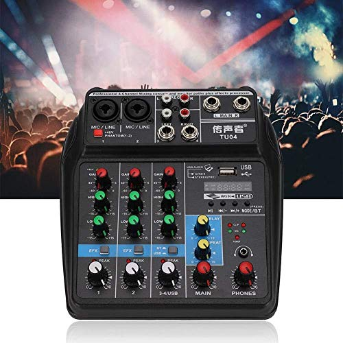 WDMC Bluetooth soundkaart, usb-live soundkaart 4-kanaals DJ-mixer 100-240V, voor huishouden, U-disk aansluitfunctie, status digitale stroomweergave