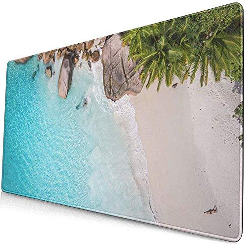 Gaming Extended Mouse Pads Tropisches Strandmeer und Palme aus Drohnen-Seychellen 30X80 cm