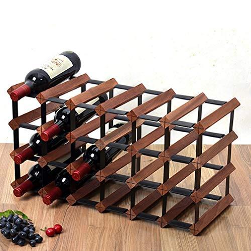 XLTFZY Estante para Vino, Estante para Copas de Vino, Bar, Discoteca, Lujo, Estante para Vino de Madera de 4 Niveles, Portabotellas de Acero de Metal Independiente, Almacenamiento en Armario de Vino