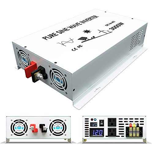 WZRELB DC to AC Converter Off Grid Pure Sine Wave Power Inverter Generator (3000w 12v 120v)