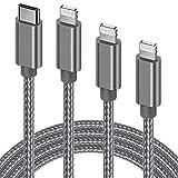 GlobaLink Cable USB C a Lightning 3Pack 1M2M3M,Cable iPhone 12 (MFi Certificado) Carga Rápida Compatible con iPhone 12Pro/12 Mini/12 ProMAX/SE 2020/11 ProMAX/X/XR/XS/8,iPad Pro 10.5/Air3/mini5-Gris