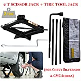 Spare Tire Tool Kit Lug Wrench Fits for Chevy Silverado & GMC Sierra Replacement Repair Kit Switch Repair Tire Tool Kit with Case + 2 Ton Scissor Jack Height 3.5inch to 14.5inch Scissor Lift Jack