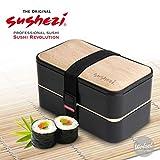 Sushezi Fiambrera Bento Box - Caja de Almuerzo con Tapa en simili Bambú y Cubiertos - 2...