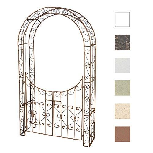 CLP Arche de Jardin avec Portillon Sina - Arceau de Jardin Romantique en Fer Forgé - Support pour Plantes Grimpantes avec Porte Style Shabby-Chic - Couleur : Marron Antique
