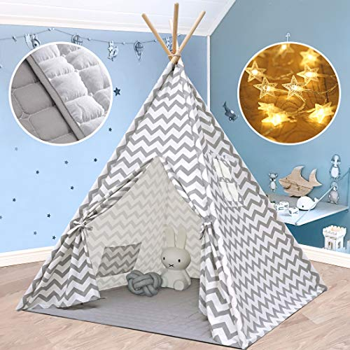 Kids-Teepee-Play-Tent Plus Soft Mat & String Lights- Foldable Indoor Tent for Child Boy & Girl, Gray Chevron Heavy Cotton Canvas Teepee