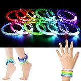 12 PCS Pulseras Luminosas Multicolores de 6 Colores, LED Brazalete Divertido para Los Niños/Adultos para Fiestas, Conciertos, Celebraciones, Cumpleaños