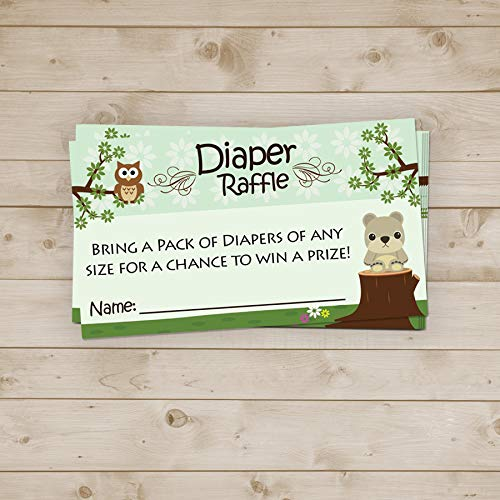 Woodland DIAPER RAFFLE Tickets Baby Shower Invitation Insert Boy or Girl (40 Pk)