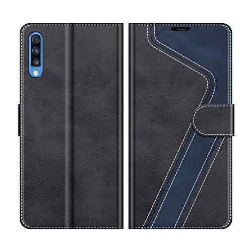 MOBESV Handyhülle für Samsung Galaxy A70 Hülle Leder, Samsung Galaxy A70 Klapphülle Handytasche Case für Samsung Galaxy A70 Handy Hüllen, Modisch Schwarz