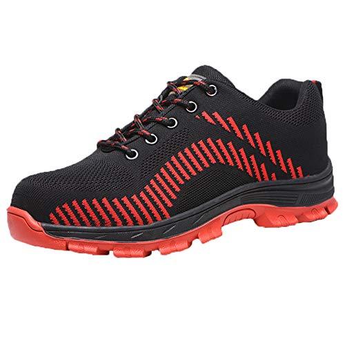 Mannen en vrouwen veiligheid werkschoenen, zomer ademend gebreid anti-smashing anti instap lichte stalen schoenen anti-slip zachte bodem werkschoenen, industriële bouwschoenen.