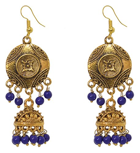 Sansar India Gols Plated Oxidised Metal Antique Jhumka Indian Bollywood Earrings Jewelry for Girls and Women, Blue