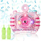 CONDFUL Bubble Machine for Kids, Camera Bubble Machine with Colorful Light, Pink Bubble Maker with Dynamic Music, Lovely Bubble Gun Blower Toy with 2 Bubble Liquids for Kids, Toddlers