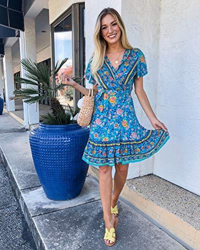 ZESICA Women's Summer Wrap V Neck Bohemian Floral Print Ruffle Swing A Line Beach Mini Dress Green