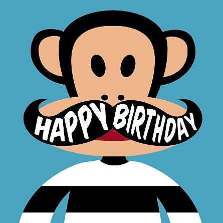 Tarjeta–feliz cumpleaños–de felicitación Paul Frank Julius con bigote