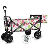 "WHITSUNDAY Collapsible Folding Garden Outdoor Park Utility Wagon Picnic Camping Cart with Fat Wheel Bearing and Brake (Standard Size(Plus+) 8"" Heavy Duty Wheels, Summer)"