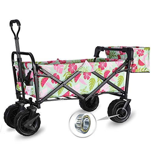 WHITSUNDAY Collapsible Folding Garden Outdoor Park Utility Wagon Picnic Camping Cart with Fat Wheel Bearing and Brake (Standard Size(Plus+) 8' Heavy Duty Wheels, Summer)