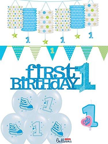 10-tlg. Partyset 1. Geburtstag blau - Girlanden, Kerze, Hängeswirl, Luftballons u. Aufsteller