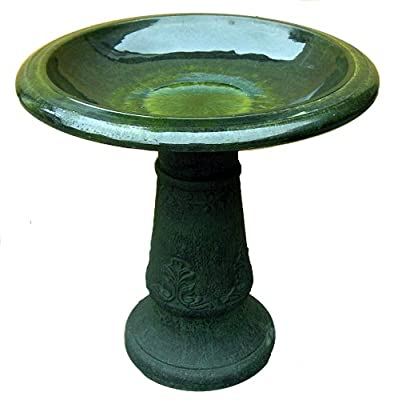 Exaco Trading FM-0203G Endura Clay Florentine Marbleized Birdbath, Green (Discontinued by Manufacturer)