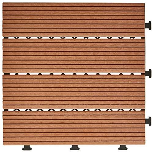 WPC Bodenfliese Holzfarben | Verlegung durch Click-System | UV- und witterungsbeständig | Bruchsicher, Splitter- und rissfest | Angenehmes Laufgefühl | 11er Set | 30 x 30 x 2,6 cm