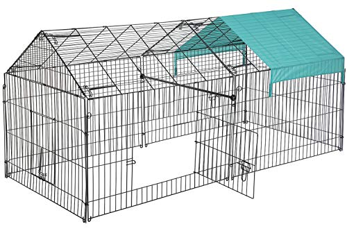 "FDW 86"" x 40"" Chicken Coop Chicken Cage Outdoor Metal Pet Enclosure Pet Playpen Exercise Run for Rabbits, Chickens, Cats, Small Animals"