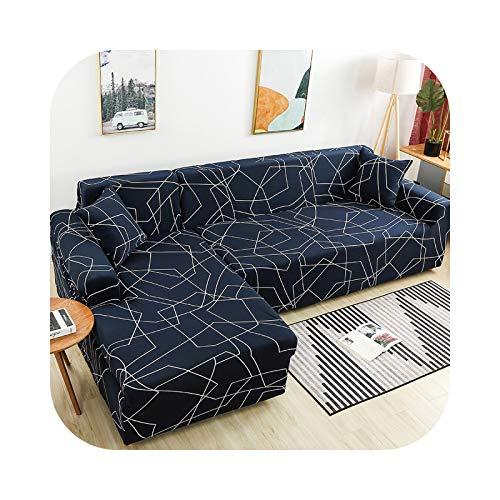 Friendshiy - Funda de sofá de esquina extensible, funda de sofá para salón elástica, toalla en forma de L, para tumbona, 2 piezas, color 22 y 2 seater