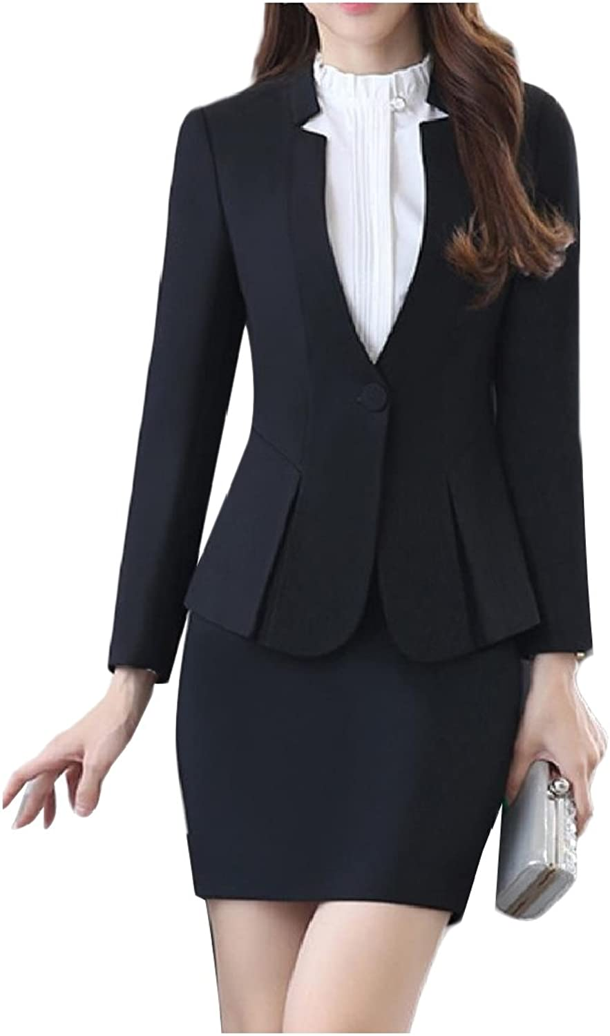Comaba Womens Solid colord Work Buckle Peplum Blazer Suit Dress Sets