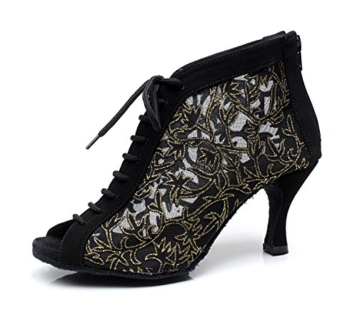 MINITOO Damen Latein Salsa Blumen Gittergewebe Schnursenkel Tanzschuhe Abend Sandalen Schwarz EU 42