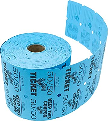 Tacticai 1000 Blue Raffle Tickets (8 Colors Available) for Events, Entry, Class Reward, Admittance, or Fundraising, Tear Away Tickets, Brightly Colored Paper (Double Roll - 50/50) - Made in USA