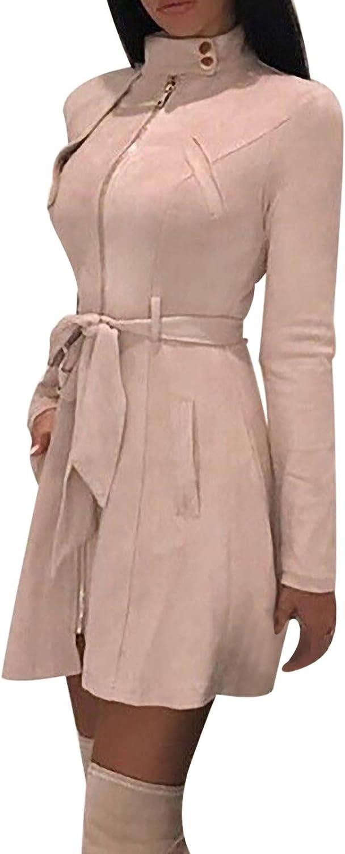 Aritone Fashion Jacket Coat Women's Solid Turtleneck Zipper Bow Bandage Windbreaker Long Coat Overcoat