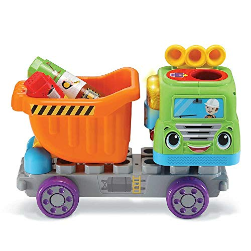 VTech – Mon Truck Benne der Entdeckungen, Spielzeug, LKW, Abfalleimer, interaktiv, ab 18 Monaten – Version FR
