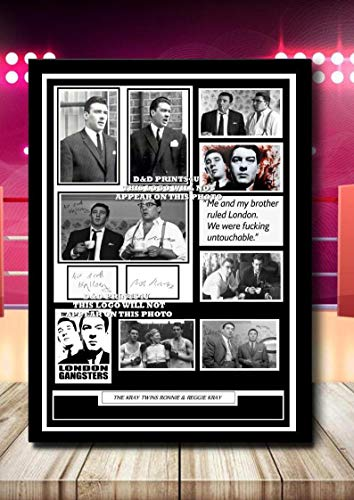 (#335) THE KRAYS RONNIE & REGGIE KRAY SIGNED A4 FRAMED PHOTOGRAPH (REPRINT) GREAT GIFT @@@@@